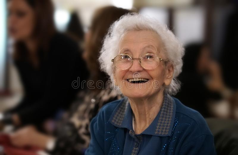 Portrait of an elderly woman smiling stock photos
