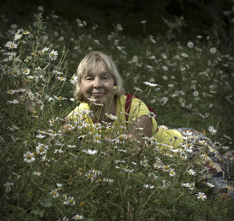 Portrait of an elderly woman tourist. Resting on a chamomile meadow stock image
