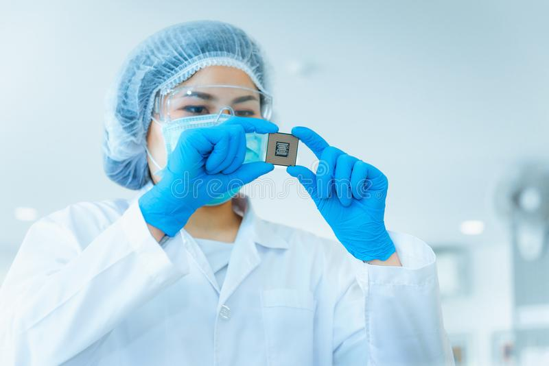 Portrait of electronics engineer is holding CPU`s computer for e stock images