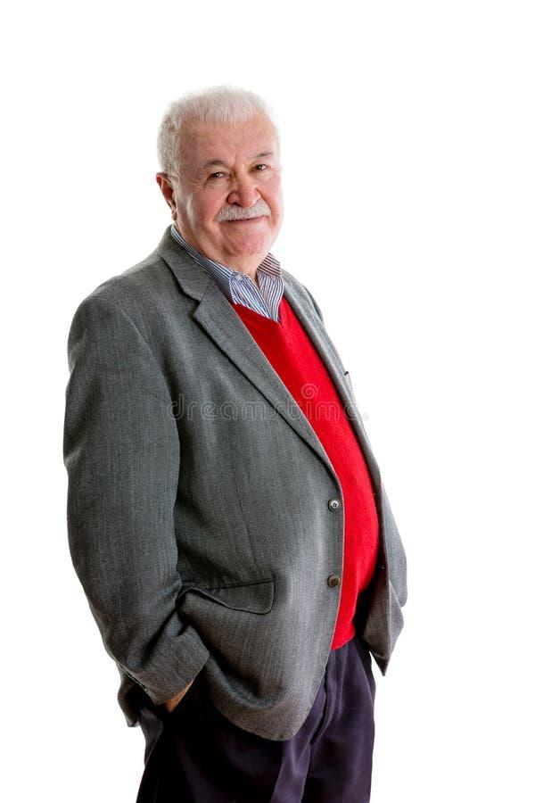 Portrait of elegant cheerful senior man stock image
