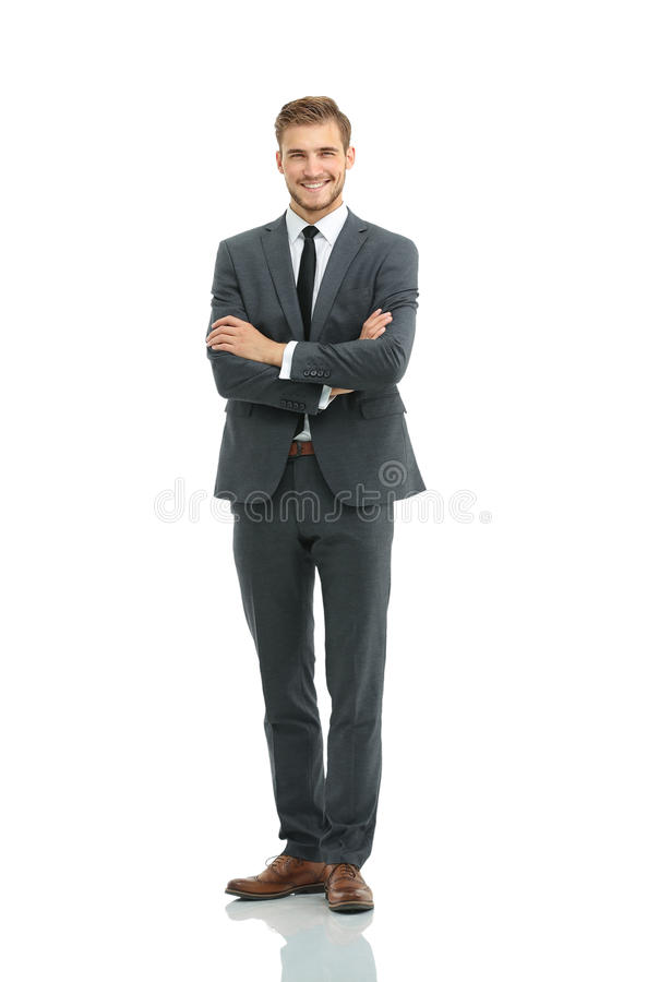 Portrait of a elegant handsome business man on white background royalty free stock photo