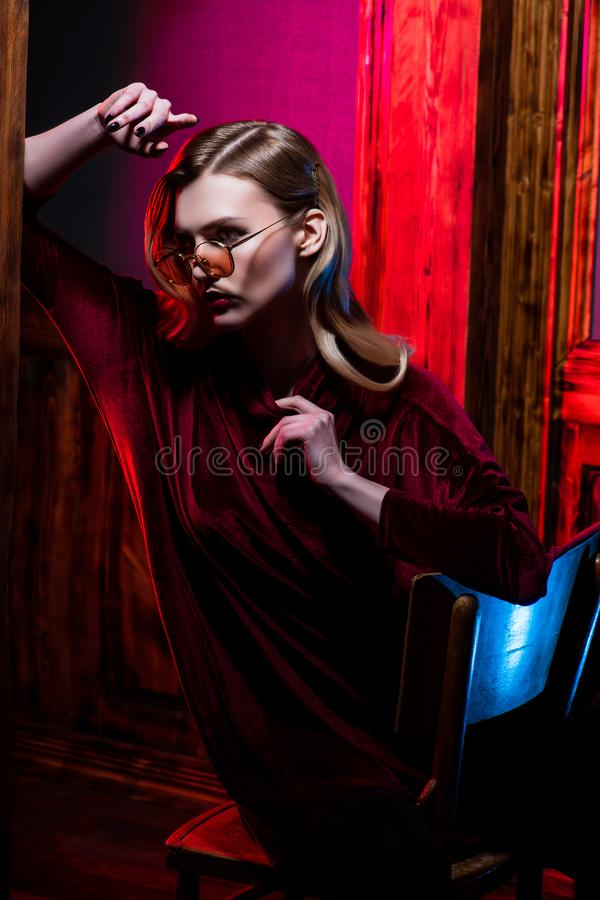 Velvet burgundy dress stock image