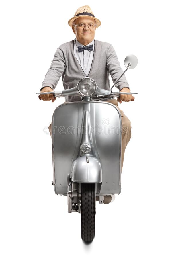 Portrait of an elegant mature gentleman riding a vintage silver scooter royalty free stock photography