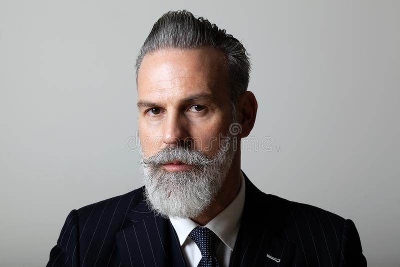 Portrait of elegant middle aged bearded gentleman wearing trendy suit over empty gray background. Studio shot, business royalty free stock photo