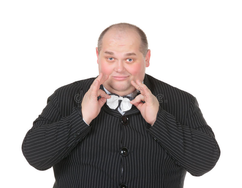 Download Portrait Elegant Very Fat Man In Suit And Bow Stock Image - Image: 28904699