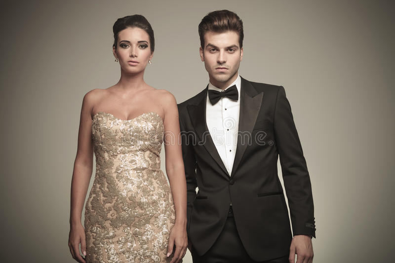 Portrait of a elegant young couple posing royalty free stock image