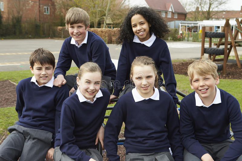 Portrait Of Elementary School Pupils In Playground royalty free stock image