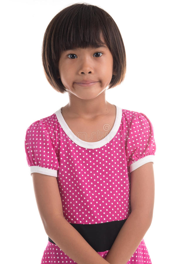 Portrait of a emotional beautiful little girl royalty free stock photo