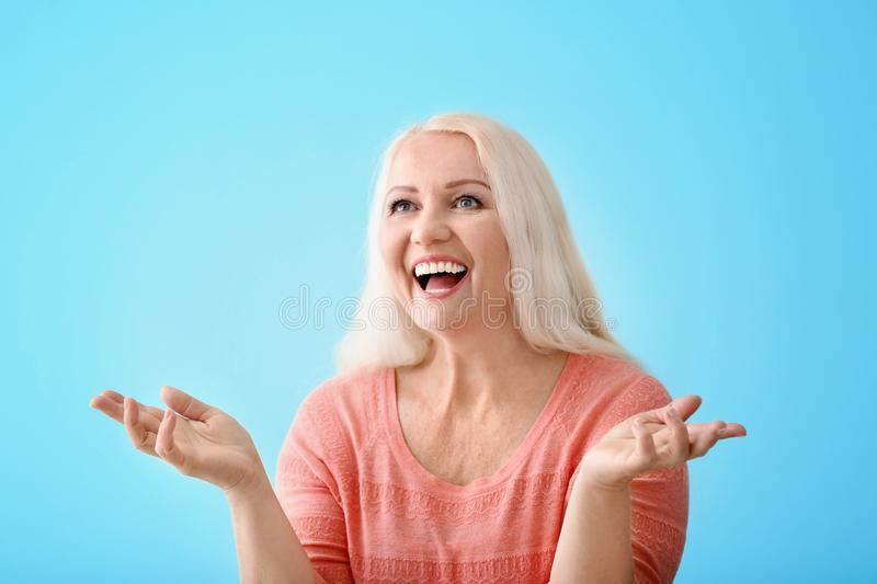 Portrait of emotional mature woman stock images