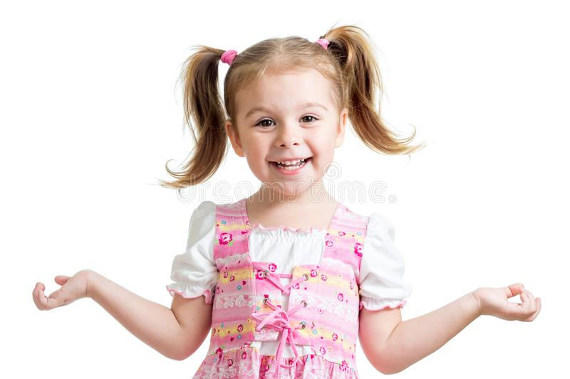 Portrait of emotionally kid. Cheerful cute little girl isolated on white background. royalty free stock images