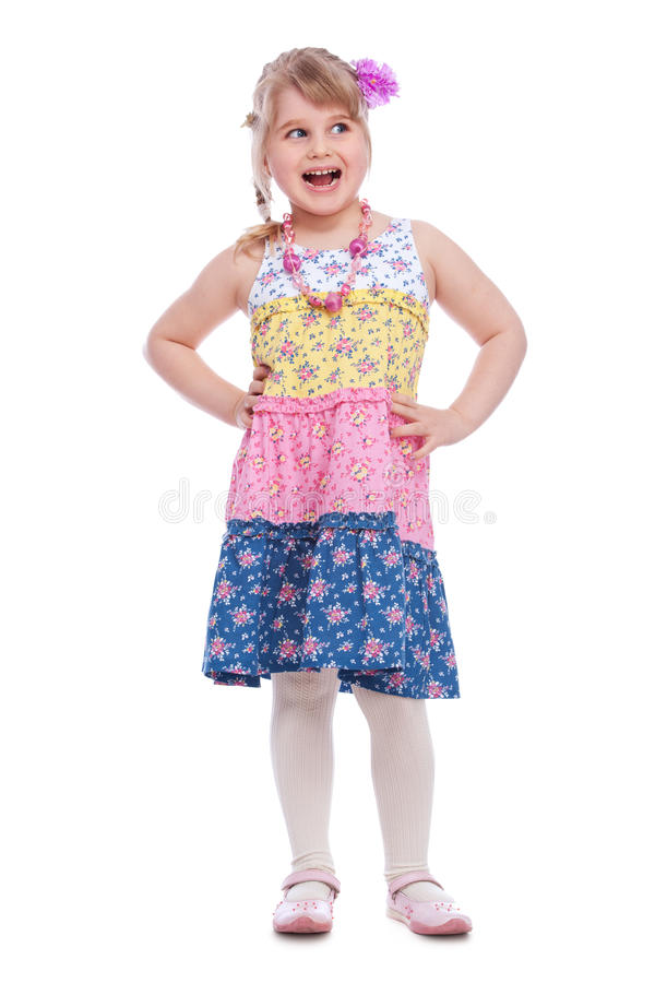 Download Portrait Of Emotionally Little Girl Stock Photo - Image of people, beautiful: 25107312