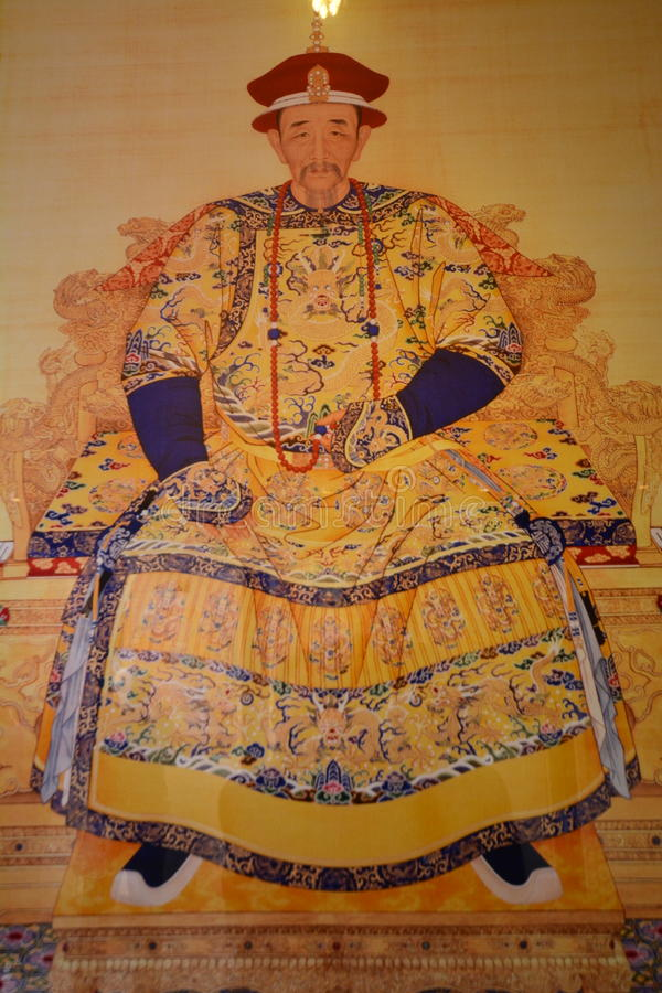 Portrait of emperor Kangxi of Qing Dynasty stock photography