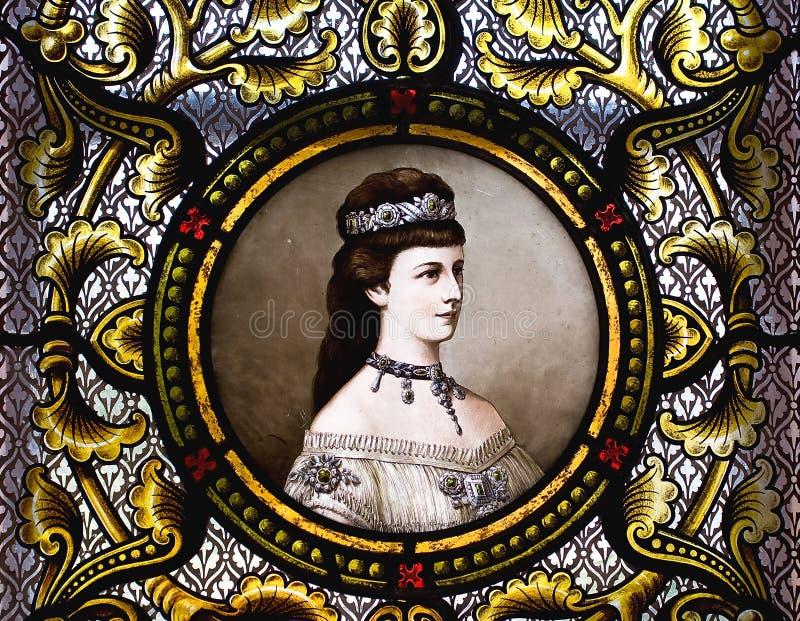 Portrait of empress Elisabeth of Austria. Empress Elisabeth of Austria on a stained glass stock photos