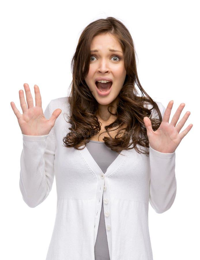 Portrait en buste de femme choquée avec des mains  photographie stock libre de droits