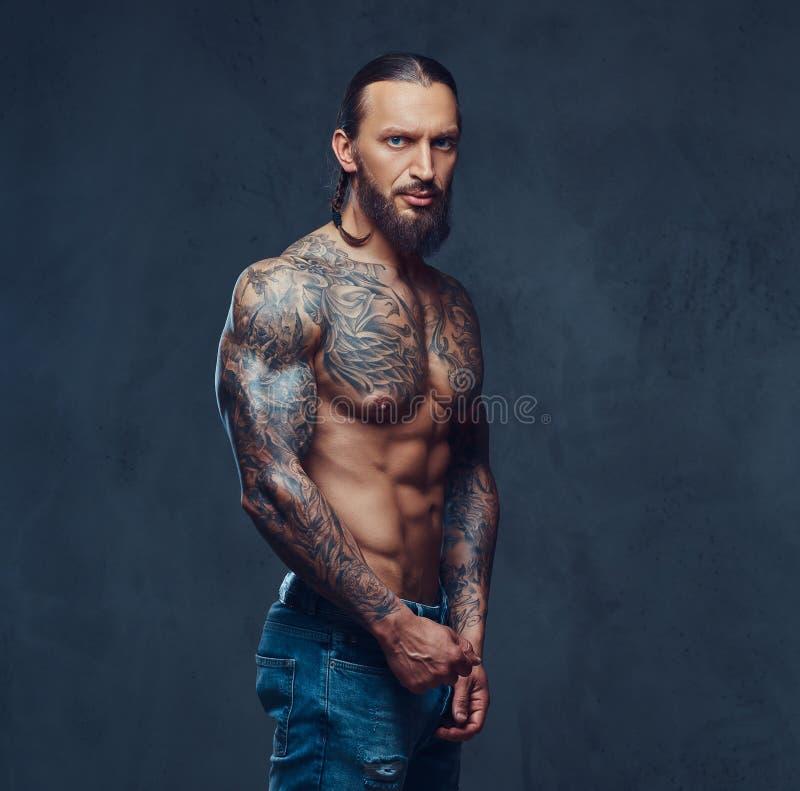 Portrait en gros plan d'un mâle tattoed barbu nu musculaire avec une coupe de cheveux élégante, d'isolement sur un fond foncé photos libres de droits