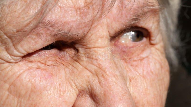 Portrait en gros plan d'un regard fixe du ` s de dame âgée Émotions de grand-mère images libres de droits