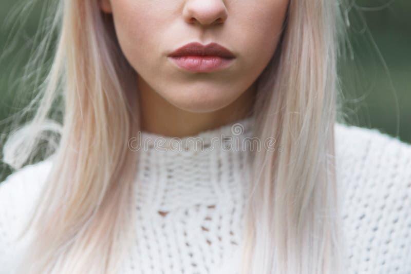 Portrait en gros plan de beau modèle avec le maquillage naturel, extérieur shooted images libres de droits
