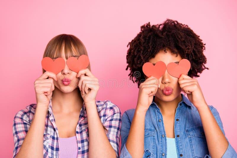 Portrait en gros plan de gentilles belles filles gaies attirantes douces pour deux personnes dans la fermeture à carreaux de chem images stock