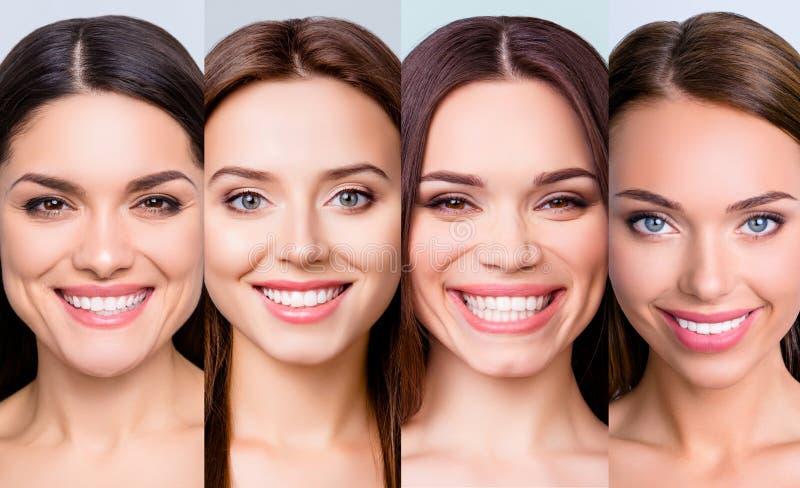 Portrait en gros plan de quatre gentilles heureuses filles positives gaies attirantes avec la peau impeccable d'éclat doux doux c photographie stock libre de droits