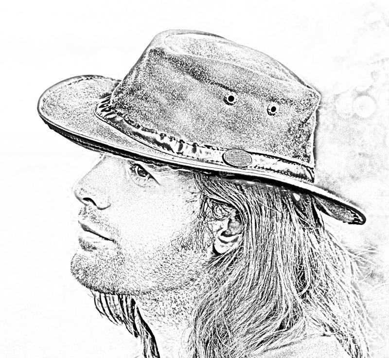 Portrait en gros plan de type dans le chapeau de cowboy Safari de style Illustration de mode image stock