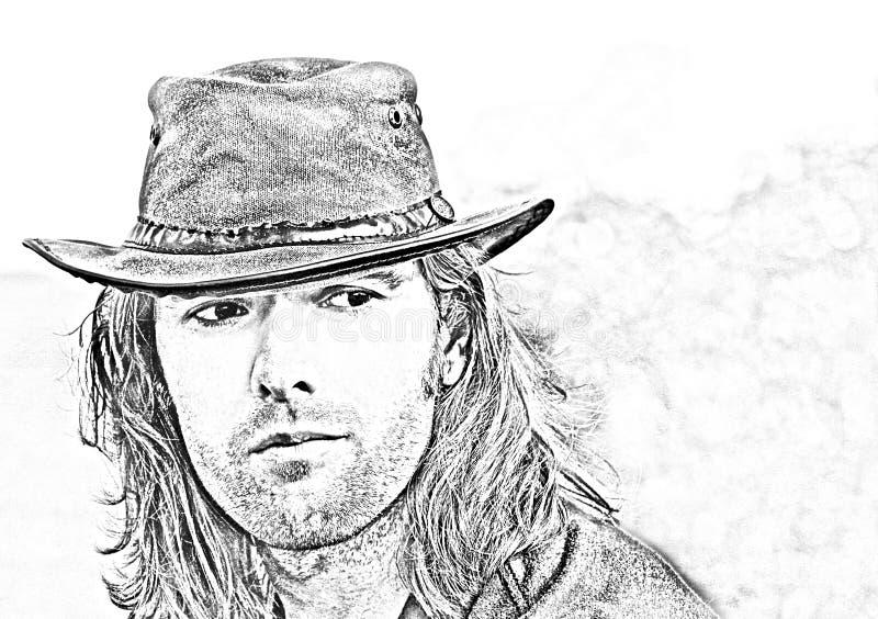Portrait en gros plan de type dans le chapeau de cowboy Safari de style Illustration de mode photographie stock