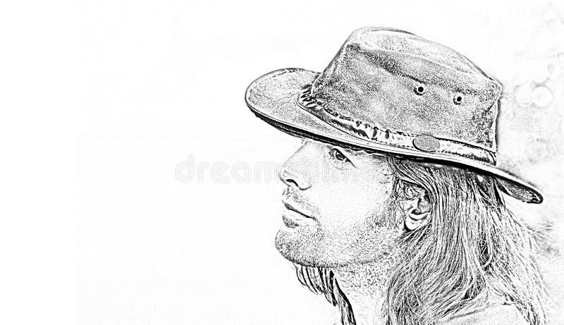 Portrait en gros plan de type dans le chapeau de cowboy Safari de style Illustration de mode images stock