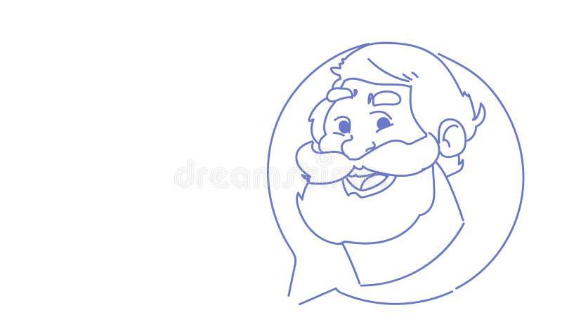 Portrait en ligne de caractère de griffonnage de croquis de concept de communication de causerie de bulle de profil d'icône d'ava illustration de vecteur