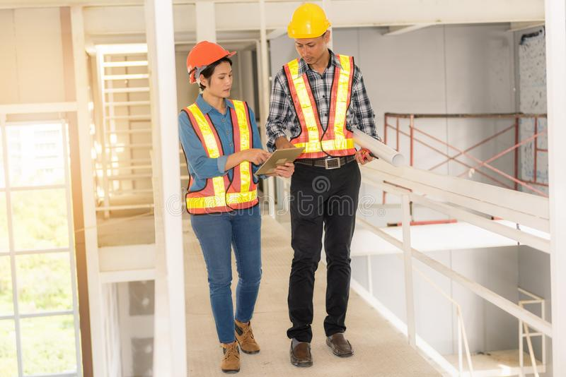 Portrait of engineer inspection and construction teamwork, Indoor concept royalty free stock photos