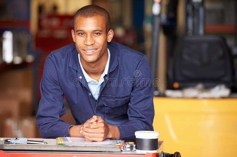 Portrait Of Engineer Standing In Factory royalty free stock photos