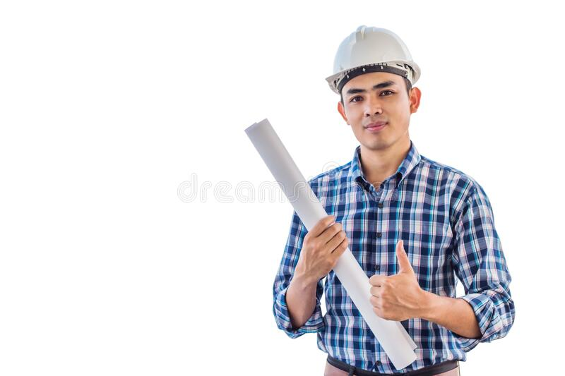 Portrait of engineer wear white safety helmet on isolated white backgrouond royalty free stock photos