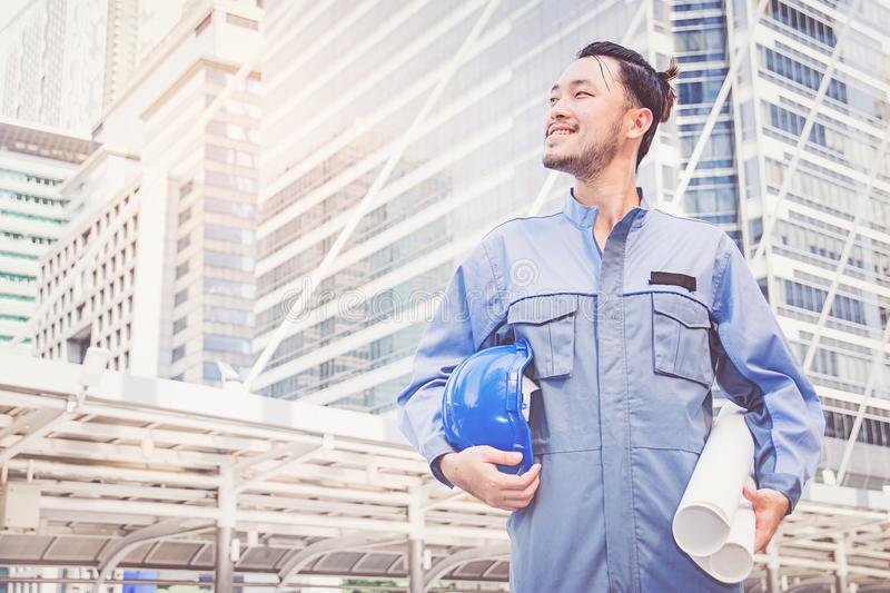 Portrait of an engineer at work. Man stock images