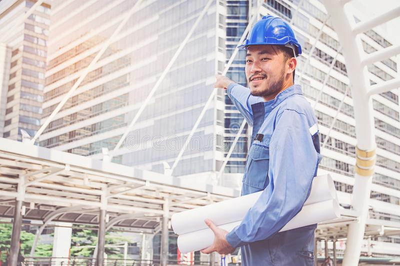 Portrait of an engineer at work. Man royalty free stock photos