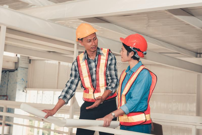 Portrait of engineering teamwork are visit and inspection their royalty free stock photo