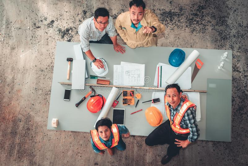 Portrait of engineers and architects are site visit and inspection together for their project, Unity and teamwork concept stock photo
