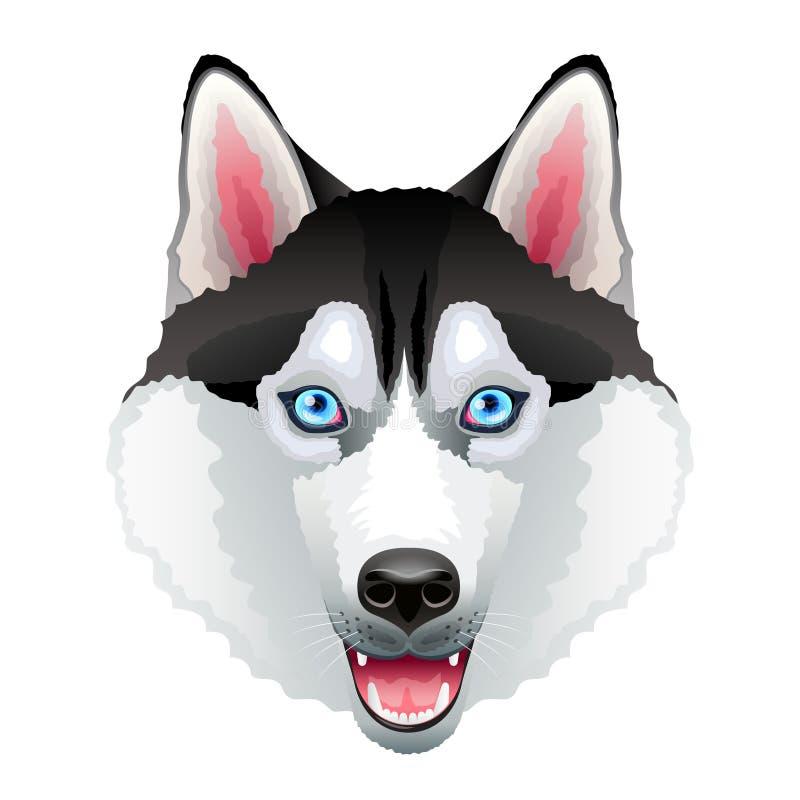 Portrait enroué de chien d'isolement sur le vecteur blanc illustration de vecteur
