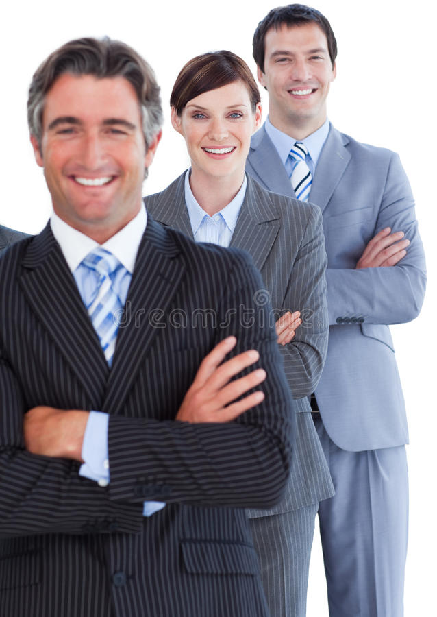 Portrait of enthusiastic business team stock photography