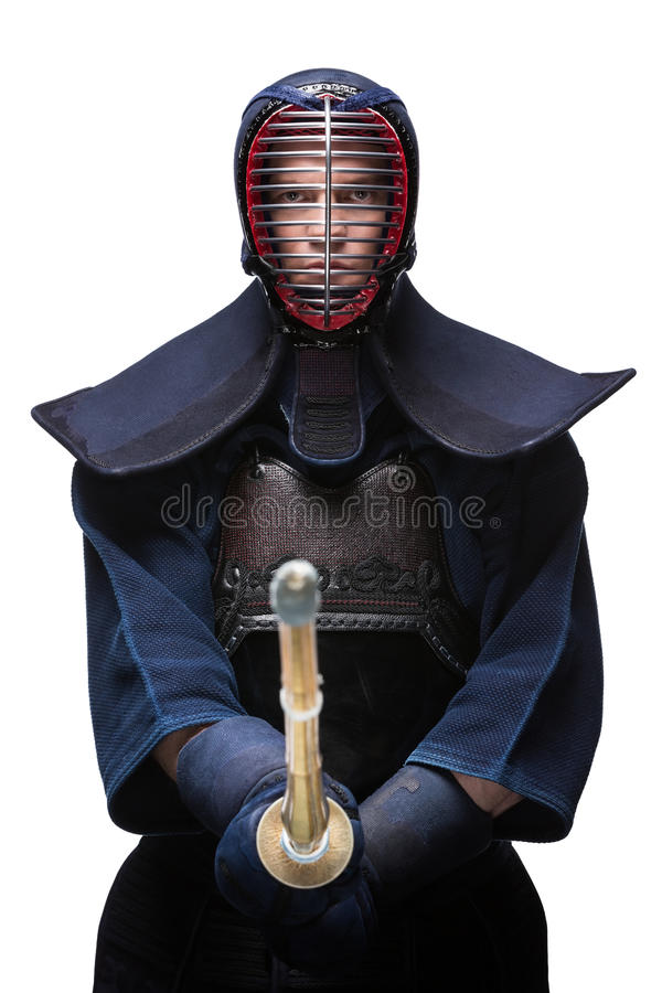 Download Portrait Of Equipped Kendoka With Shinai Stock Image - Image: 30687975