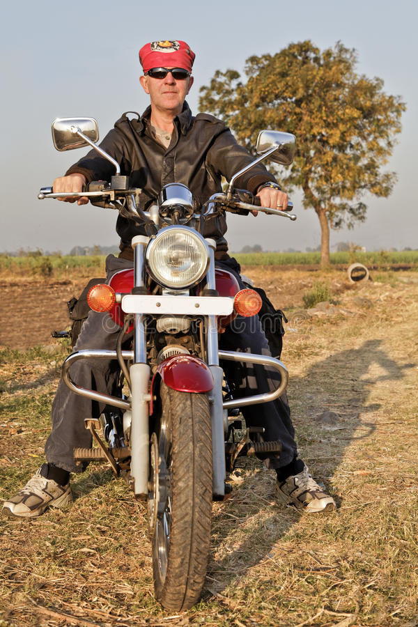 Portrait of European Biker in India stock photo