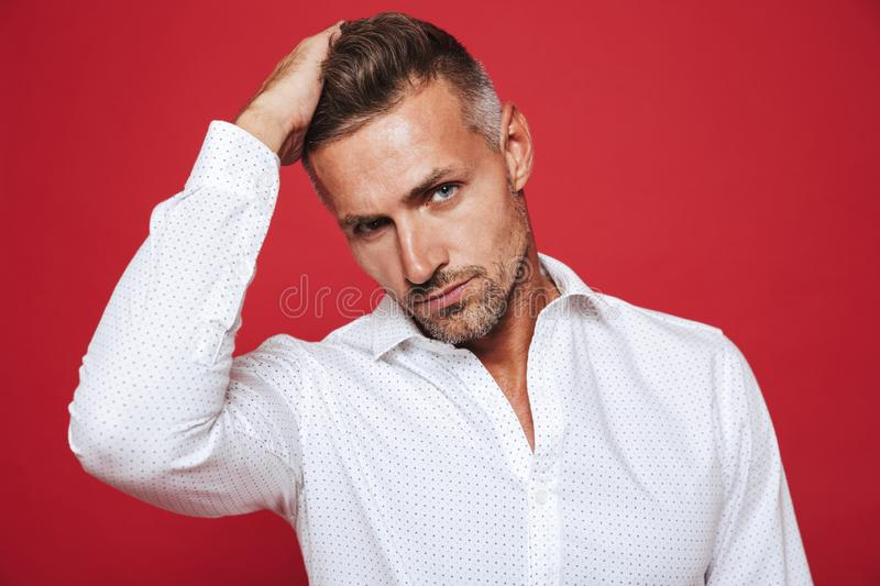 Portrait of european brunette man 30s with stubble in white shirt looking on camera, isolated over red background stock photography