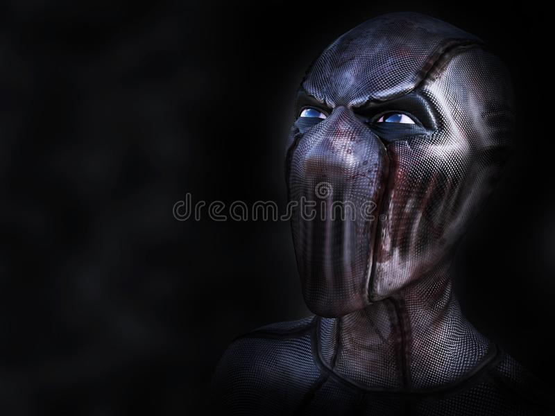 3D rendering of an evil looking superhero. royalty free illustration