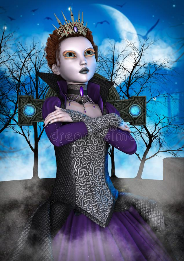 Portrait of an evil queen doll. stock illustration