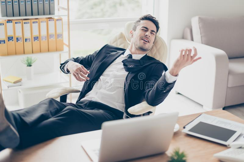 Portrait of excited adorable funny fun joy joyful emotional enthusiastic toothy with closed eyes entrepreneur boss chief employee royalty free stock photography