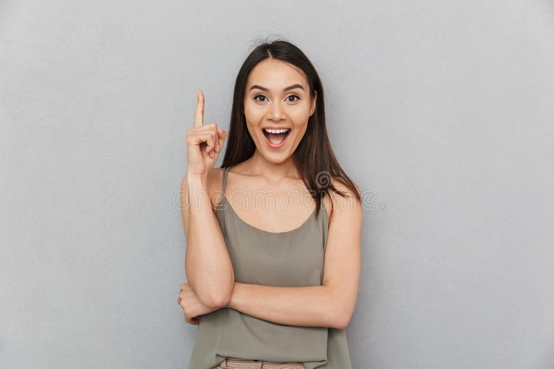 Portrait of an excited asian woman stock photo