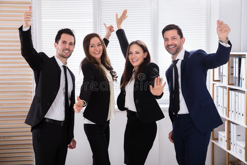 Portrait Of An Excited Businesspeople royalty free stock images