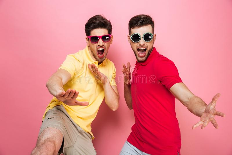 Portrait of an excited gay male couple in sunglasses stock photography