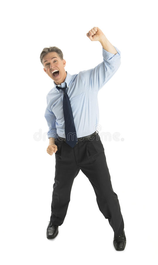 Portrait Of Excited Mature Businessman Shouting