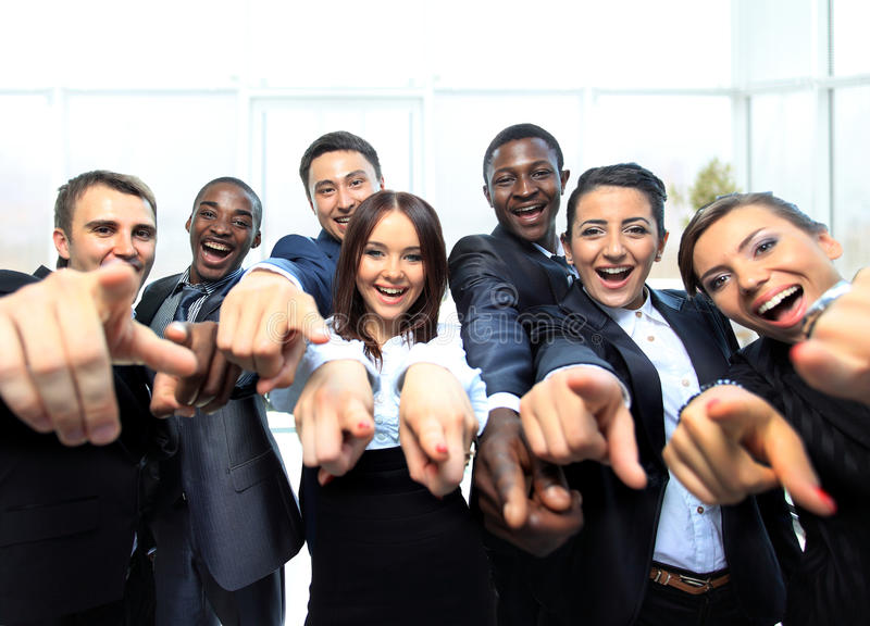 Portrait of excited young business people royalty free stock image
