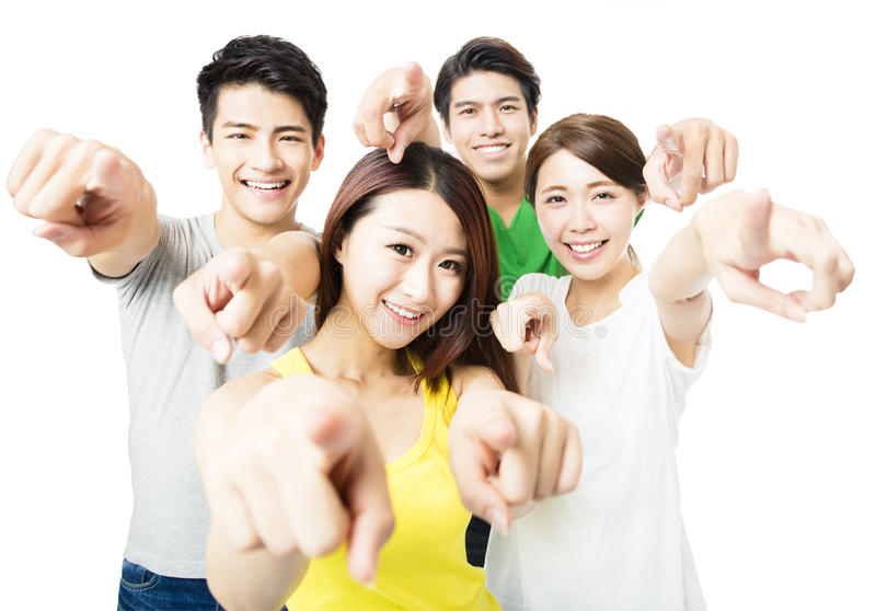 Portrait of excited young student people pointing at you stock photo