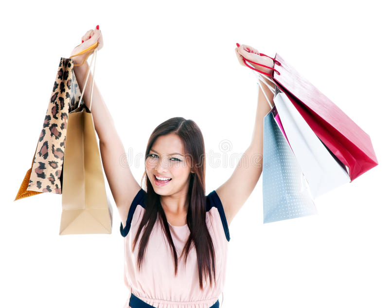 Download Happy Young Woman Shopper stock image. Image of bags - 29924773