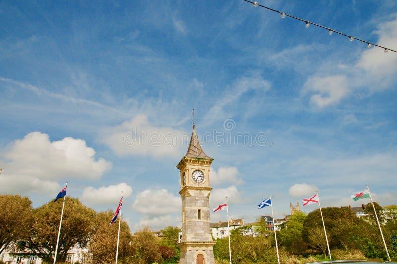 Portrait of the Exmouth clocktower. Exmouth beach Devon England united kingdom stock images